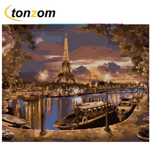 RIHE Night Paris River Diy Painting By Numbers Boat Oil On Canvas Hand Painted Cuadros Decoracion Acrylic Paint Art