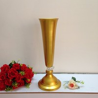 Fast Delivery Wedding Supplies Gold Flower Vase 60cm Tall Wedding Decoration Crystal Table Centerpiece