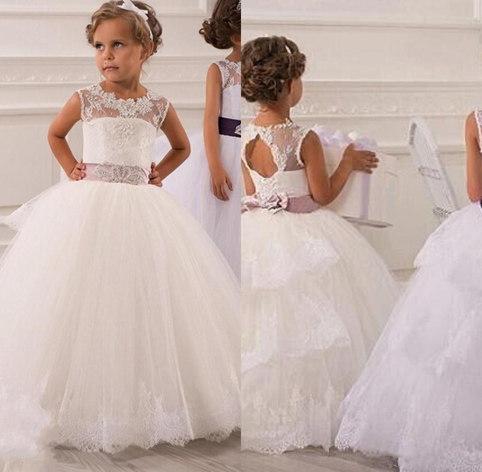 New   Flower     Girls     Dresses   Little   Girl   Formal Gown With Sheer Neckline Beaded Lace Jewel Bow Appliques Ribbon Tulle Custom Made