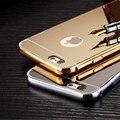 Para iphone 7 plus caso o metal de alumínio espelho casos para apple iphone 7 6 S 6 5 5S SE Logotipo Buraco Luxo Ouro Capa Preta acessórios