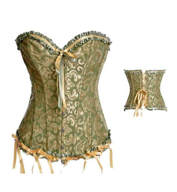 75e9b7c4192cc2 Women s Steampunk Gothic Brocade Corset Top Overbust Waist Cincher Lace Up  Corsets And Bustiers Green