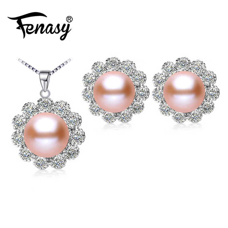FENASY Necklace Pearl S925 Jewelry-Sets Flower-Earrings Pendant Silver Setsnatural Women