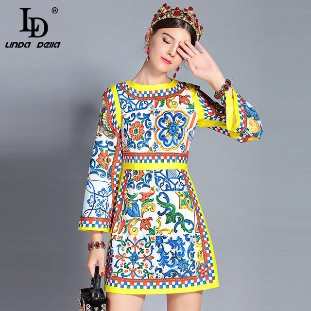 69ec7444a1 LD LINDA DELLA New 2018 Autumn Fashion Runway Dress Women s Long Sleeve  Vintage Gorgeous Floral Printed Elegant Dress vestido