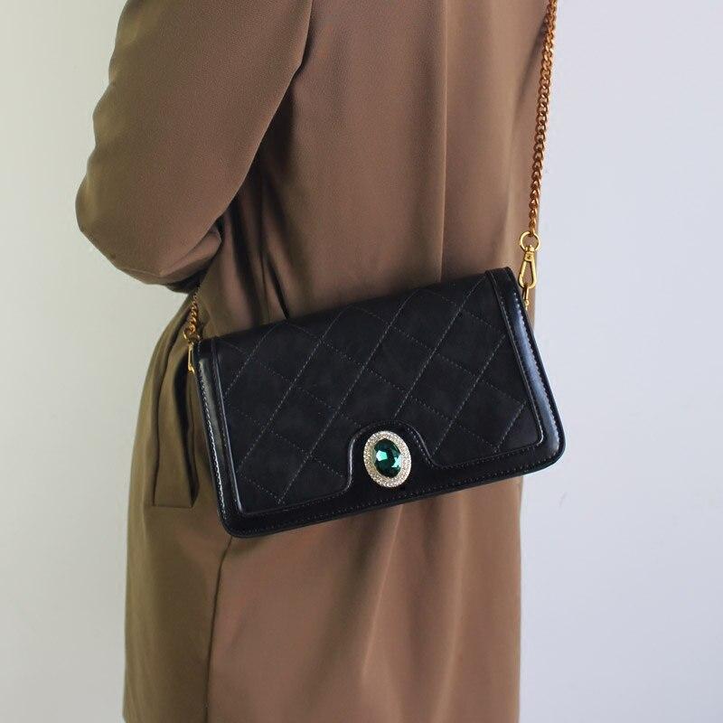 Cuir Simple Dames Mode Bovins 2019 Incliné De Diamants Black Diamant Noir C399 Rétro Sac Chaîne Benviched D'épaule En Grain gtaqWdgw