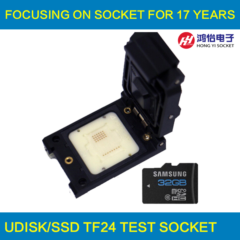 Customized TF24 Pogo Pin Test Socket 32 pins Adapter Clamshell Flash Chip Socket 3-5 days for Customizing TF card socket specific flash lqfp100 78k0 lg2 100gf test adapter