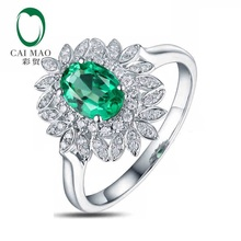 CaiMao 0.85 ct Natural Emerald 18KT/750 White Gold 0.23 ct Round Cut Diamond Engagement Ring Jewelry Gemstone