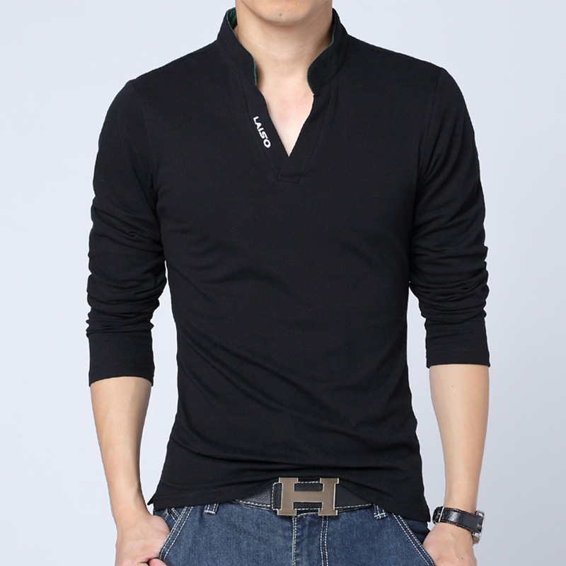 018998c68 Hot Sale Men s polo shirt men cultivating wild long sleeved shirt minimalist  tide male stand up collar long sleeved shirt-in Polo from Men s Clothing on  ...