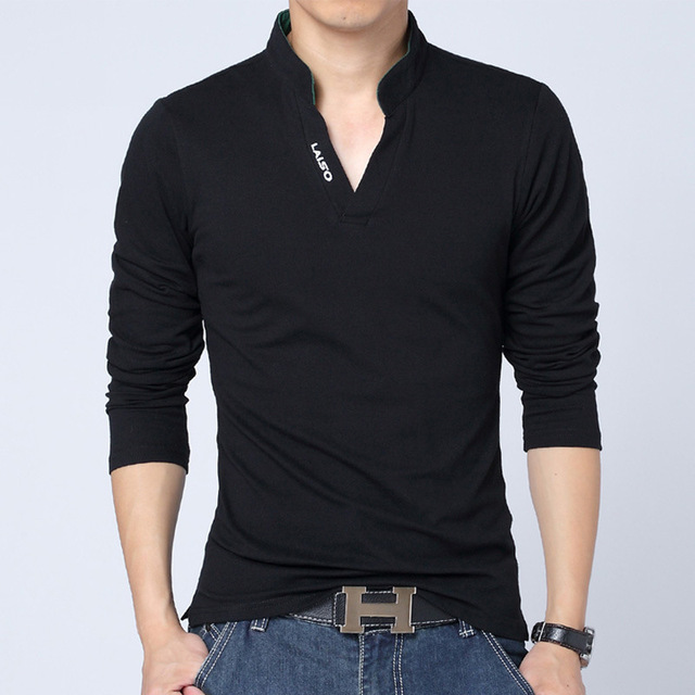 Hot Sale Men's polo shirt men cultivating wild long-sleeved shirt minimalist tide male stand-up collar long-sleeved shirt