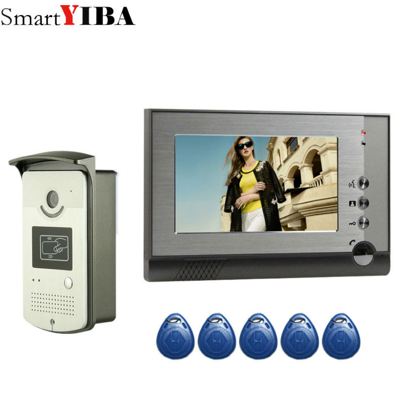 SmartYIBA Wired Doorphone Audio Chat Video Intercom RFID Card Unlock With 1/2 Monitors Video Call For Private House Night Vision