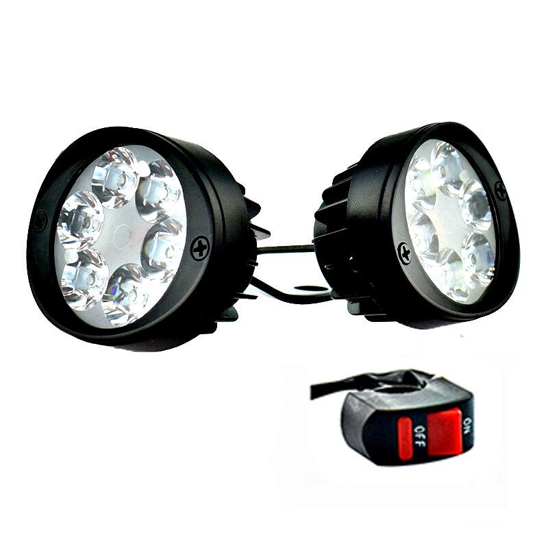 2PCS Motorcycle Spotlight Headlights 12V LED Moto Side Mirror Lights Motorbike Driving Headlamps Spot Work Lamp With Switch