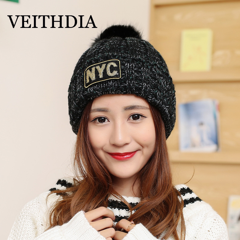 VEITHDIA Mink and fox fur ball cap NYC pom poms winter hat for women girl 's hat knitted beanies cap brand new thick female cap new star spring cotton baby hat for 6 months 2 years with fluffy raccoon fox fur pom poms touca kids caps for boys and girls