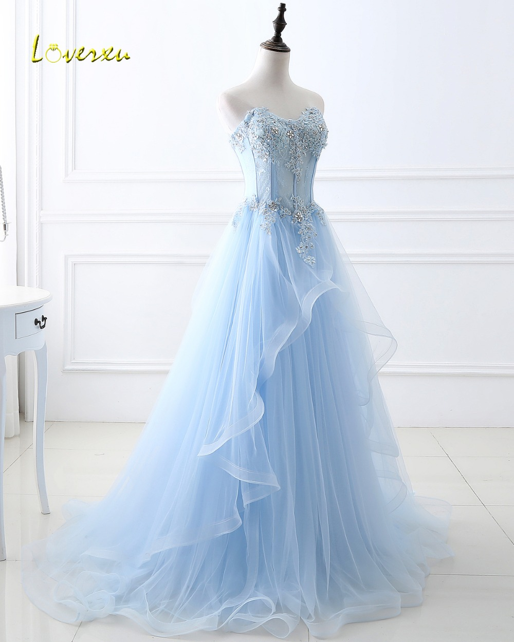 Loverxu Elegant Strapless Appliques Lace Up A-Line   Evening     Dresses   2019 Delicate Beaded Ruched Organza Prom   Dress   Robe De Soiree