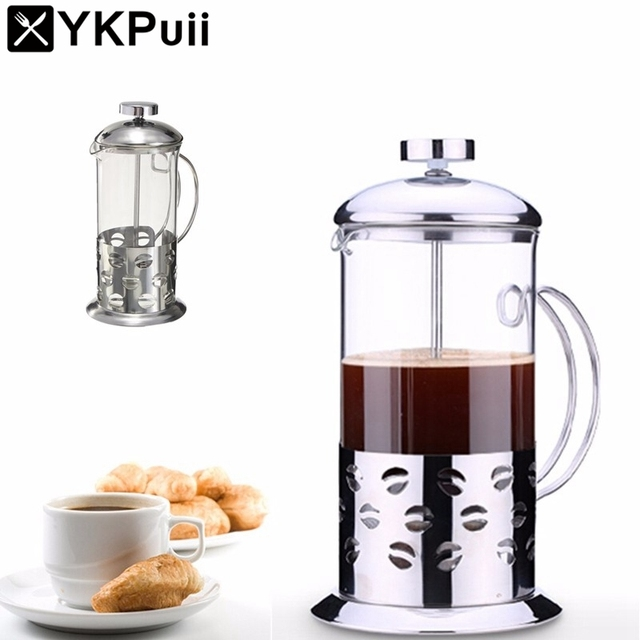 Stainless Steel Glass Teapot Cafetiere French Coffee Tea Percolator Filter Press Plunger Manual Espresso Maker