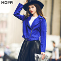 Europa y los Estados Unidos de zafiro elegante faux suede cinturón perfil tipo chaqueta slim fit de las mujeres corto outwear escudo