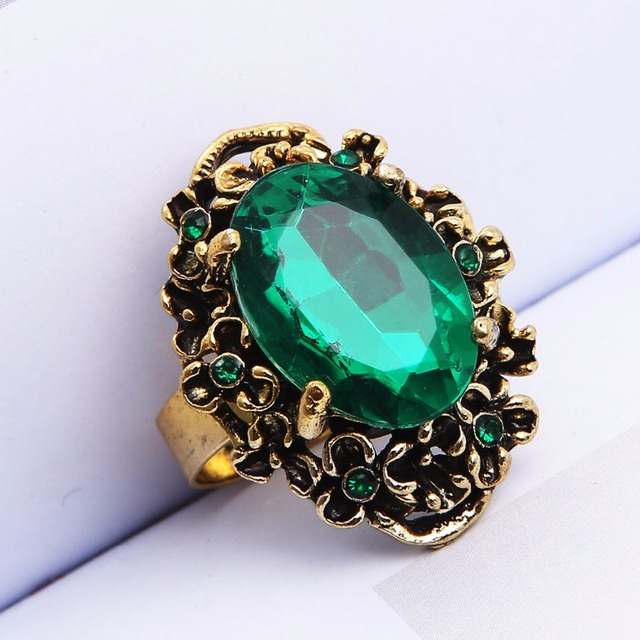 Antique Bronze Vintage Big Stone Crystal Rhinestone Rings For Women Finger Jewel