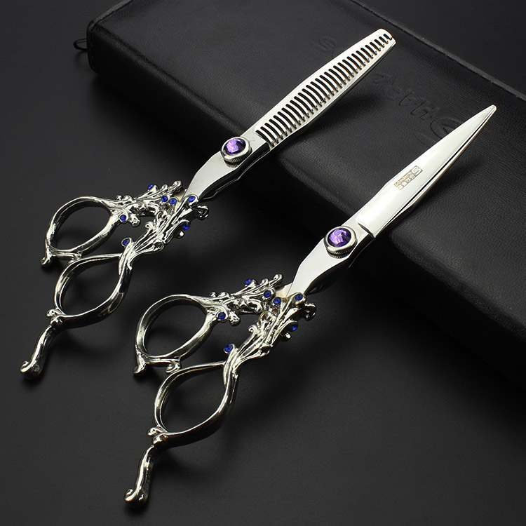 6 inch high quality professional barber kit sharp hair scissors set tools for hairdressing hair cutting thinning shears 2 design 6 inch professional hairdressing scissors set cutting and thinning barber shears high quality dragon handle ruby style