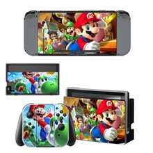 Super Mario Decal Vinyl Skin Protector Sticker for Nintendo Switch NS Console +Controller + Stand Holder Protective Film