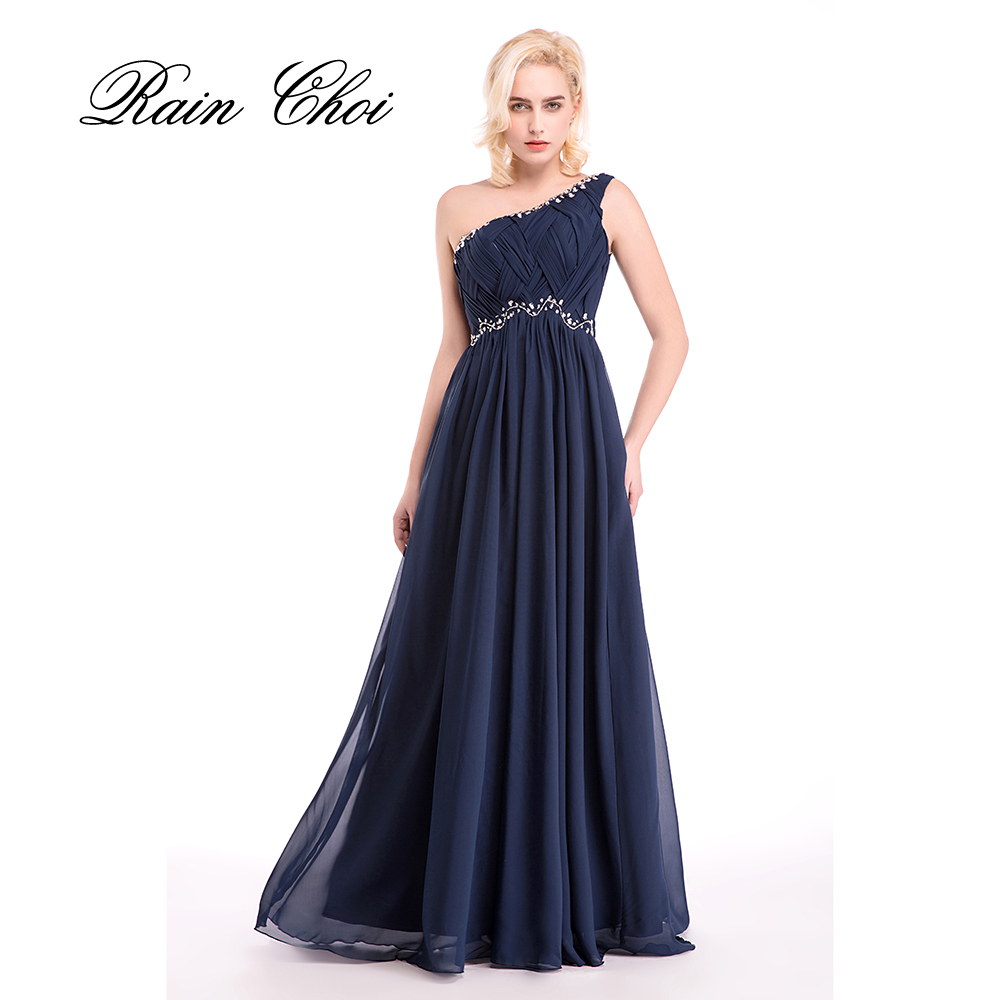 evening dresses 2017 one shoulder fuchsia chiffon formal gowns navy blue long wedding party dress