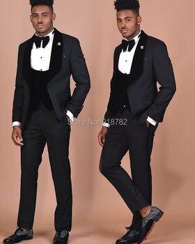 Costume Homme 2018 New Designs Black 3 Pieces Suit Men Velvet Vest Slim Fit Terno Masculino Formal Groom Suit Wedding Suits