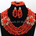 Charming African Women Wedding Beads Party Gift Natural Orange Coral Beads Necklace New Lace Jewlery Sets Free Shipping ABK923