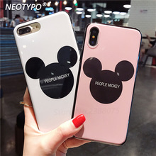 Hot sell High Quality Plexiglass Cute cartoon Mickey Minnie Case For iPhone X 8 7 6 6s Plus Soft edge Hard back cover Casing