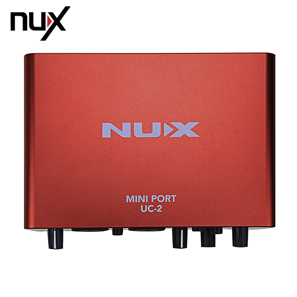 NUX UC-2 Mini Port USB XLR 6.35mm Input Output Audio Interface For Mic MIDI Instrument Recording Playback For WINDOWS & MAC PC nux uc 2 mini port usb audio interface