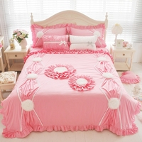 4 styles Bright Pink Grey Sunflower Duvet Cover Sets Ruffled Cotton Beautiful Bedding Set Queen