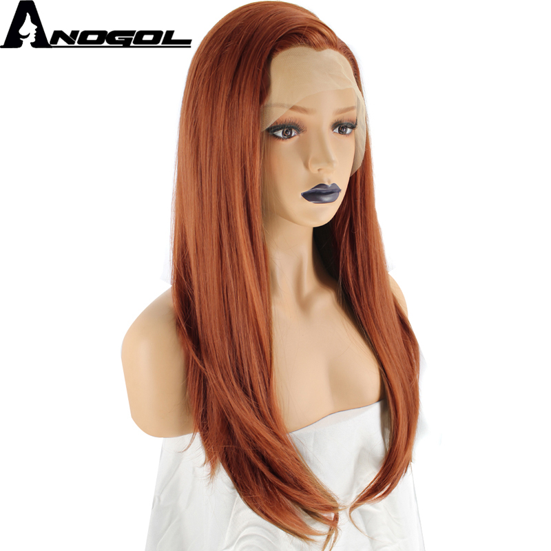 Anogol High Temperature Fiber Peruca Orange Hair Wigs Long Natural Wave Copper Red Synthetic Lace Front