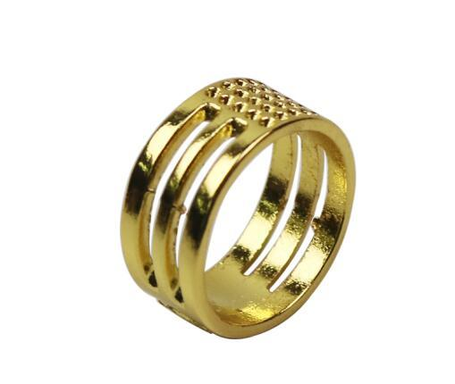 5 Pieces Household Sewing Thimble DIY Protector Finger Tools Gold Ring Craft