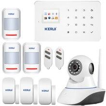 GSM Сигнализация SMS сигнализация главная охранной сигнализации Сенсорный Экран TFT APP управления PIR Motion Sensor door sensor + wi-fi ip камеры