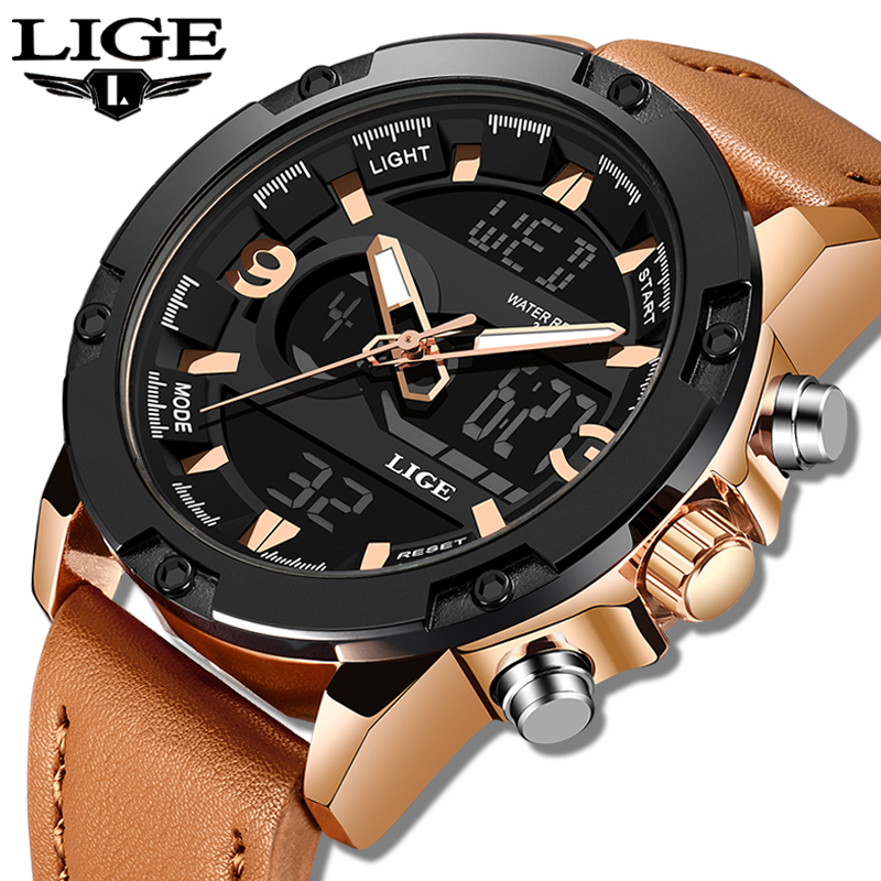 LIGE New Mens Watches Top Luxury Brand Men Leather Sports Watches Men's LED Digital Quartz Clock Waterproof Military Wrist Watch