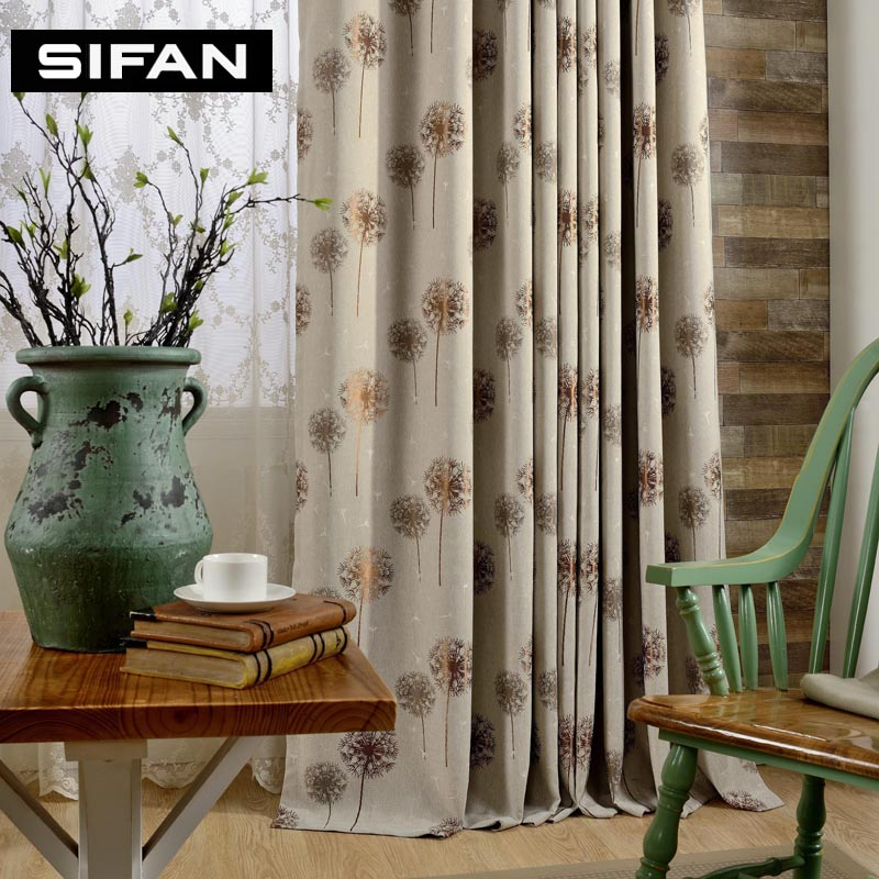 High-end Coffe /Gray Dandelion Jacquard Faux Linen Curtains for the Bedroom Windows Drapes Fabric for Living Room