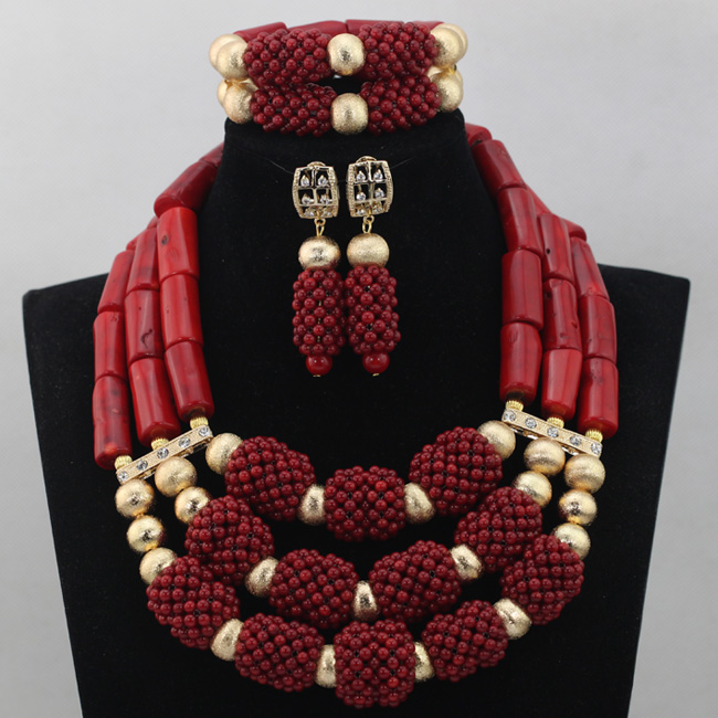 Amazing Red Coral Beads Necklace Jewelry Set 18K Gold Plated Wedding Brides Statement Jewelry Set Wine