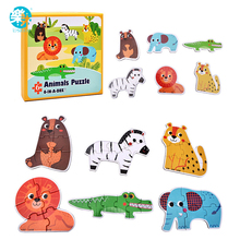 LogWood Baby Wooden Toys Puzzles Jigsaw puzzle Animal /Traffic /Ocean fish/ 6pcs in a box Educational table game gifts