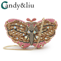 Day clutches 2018 hot selling colorful butterfly dinner package high grade full diamond handbag banquets package foreign trade
