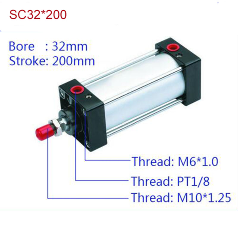 SC32*200 Free shipping Standard air cylinders valve 32mm bore 200mm stroke SC32-200 single rod double acting pneumatic cylinder cdu bore 6 32 stroke 5 50d free mount cylinder double acting single rod more types refer to form