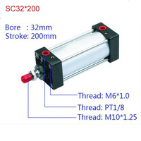 SC32*200 Free shipping Standard air cylinders valve 32mm bore 200mm stroke SC32 200 single rod double acting pneumatic cylinder