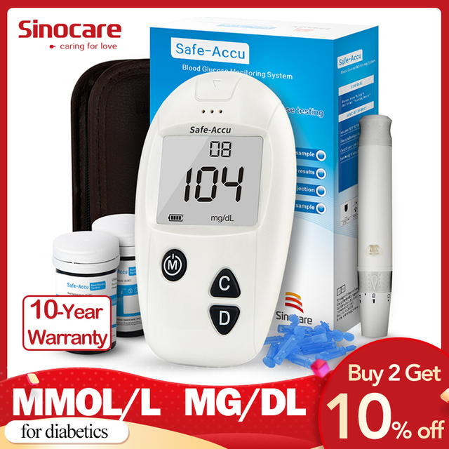 Sinocare Seguro-Accu CE Medidor de Glicose No Sangue Kit Testador de Diabetes Tiras de Teste 50/100 Lancetas Glicosímetro Médica Medidor de Açúcar No Sangue