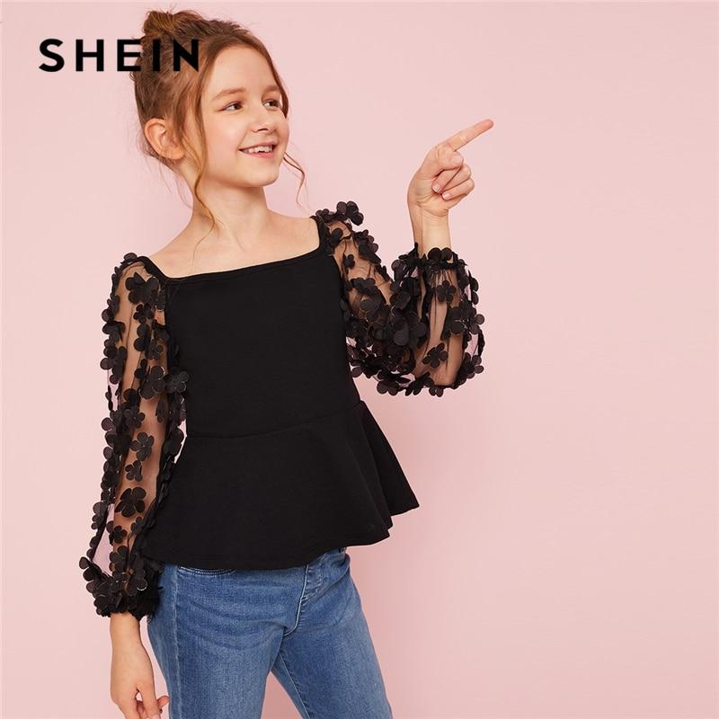 SHEIN Kiddie Girls Flower Applique Mesh Sleeve Party Peplum   Blouse   Teenagers 2019 Summer Elegant Zipper Back Cute   Shirts   Tops