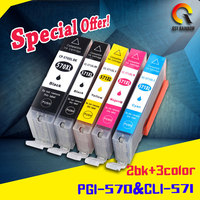 5pcs PGI 570 CLI 571 PGI 570 CLI 571 Compatible Ink Cartridge For Canon PIXMA MG5750