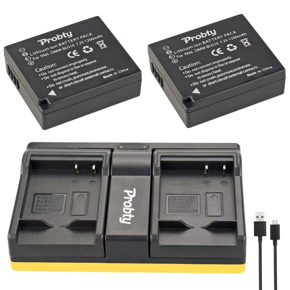 Probty 2pcs DMW-BLG10 DMW BLG10 Camera Battery + USB Dual Charger For Panasonic DMC GF6 GX7 GF3 GF5 DMW-BLG10GK LX100 GX80 GX85