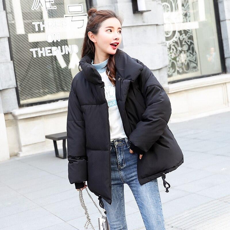 Chaud bleu Rembourré Streetwear Poche Ciel 2018 Hiver Lâche Noir Parkas Noir Femelle Parka Bleu Pardessus Femmes Manteau Down blanc Casual Coton xz8Hzqw75