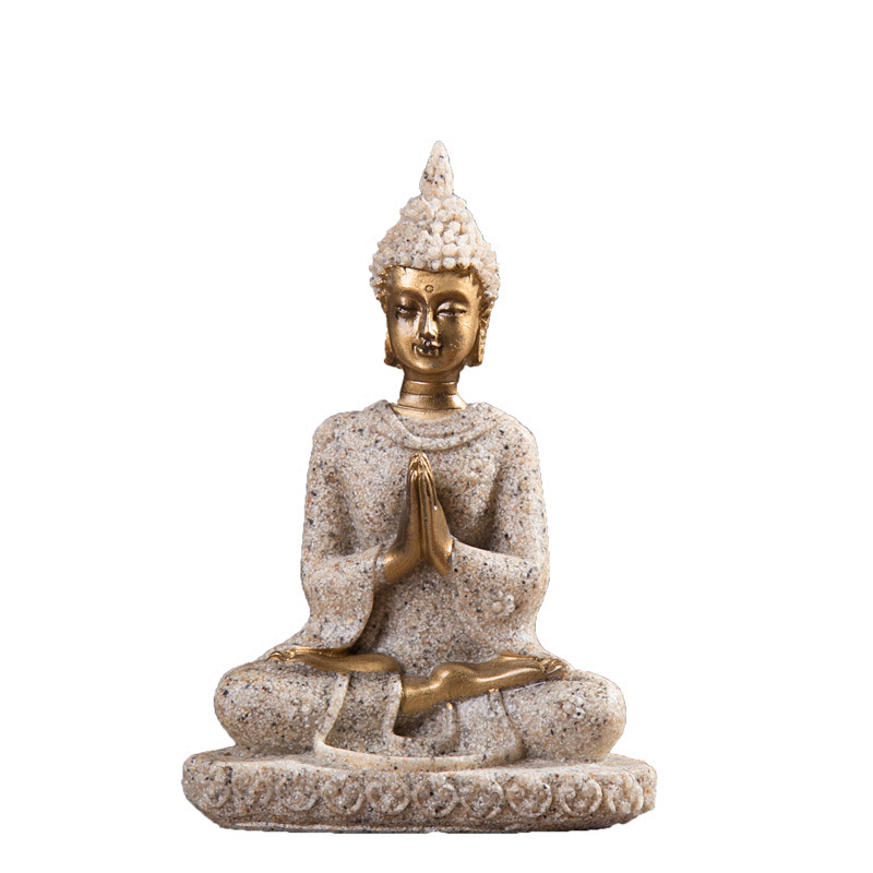 Indian Tibetan Resin Buddha Statue Decoration Nature Sandstone Thailand Buddha Sculpture Figurine Meditation Home Decoration