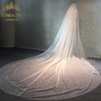 One Layer Catedral de velo Royal Grenadine Crystal Bring Veil Bridal Princess Crown Bridal Wedding Hair Accessories Wedding Veil