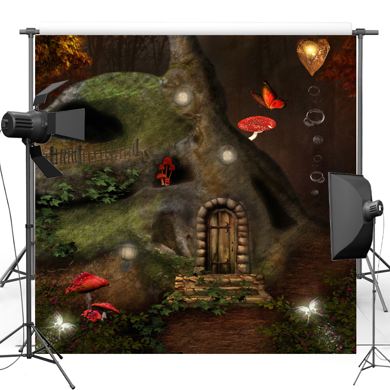 New Fabric Flannel Photography Background Fairy Alice in Wonderland Tree House Vinyl backdrop For Photo studio Props F1748