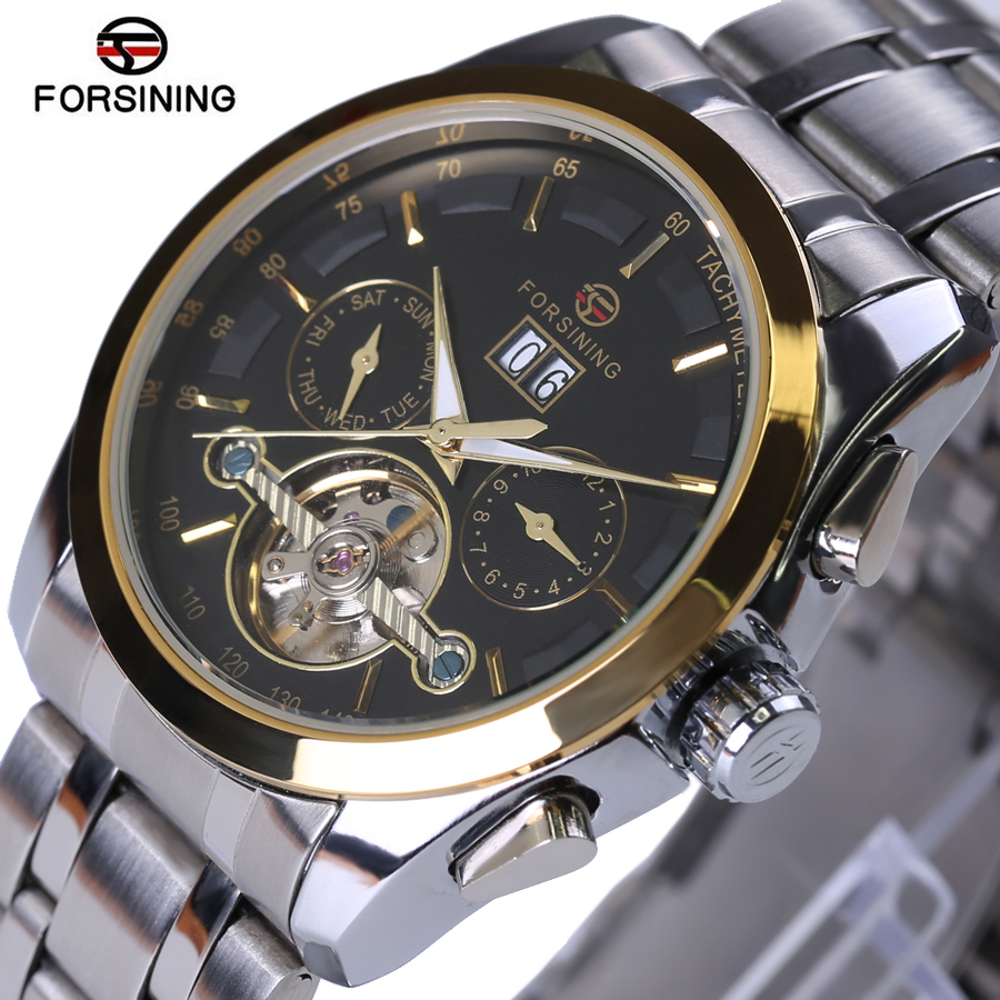 цены Original Forsining Men Mechanical Mens Watches Top Brand Luxury Full Steel Waterproof Business Automatic Wristwatches For Men