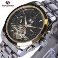 Original forsining homens mecânicos mens relógios top marca de luxo completa de aço à prova d' água de negócios relógios de pulso automáticos para os homens
