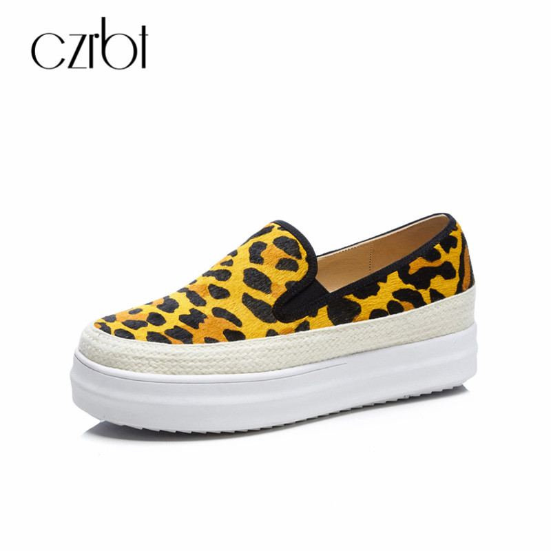 CZRBT Women Loafers Round Toe Horsehair Leopard Casual Shoes Thick Bottom Straw Summer Flat Ladies Shoes Slip-On Ladies Shoes fashionable tassels ornament leopard pattern flat shoes loafers black leopard pair size 36