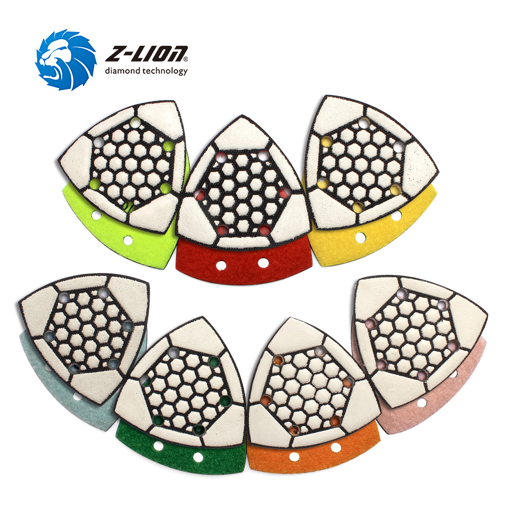 Z LION 3 Triangular Sanding Pad Diamond Dry Polishing Pads 7pcs Set Renovator Oscillating Tool For