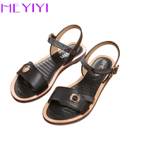 HEYIYI Women Sandal Shoes Flat Heel Soft EVA Insole PU Leather Summer Large Size 36 41